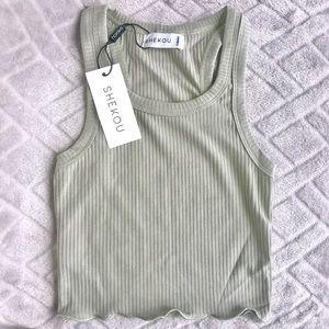 NWT Shekou Sage Green Crop Top Tank Shirt Summer